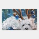 Perro azul de Westie del navidad de Terrier de la Rectangular Pegatina