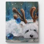 Perro azul de Westie del navidad de Terrier de la  Placas Para Mostrar