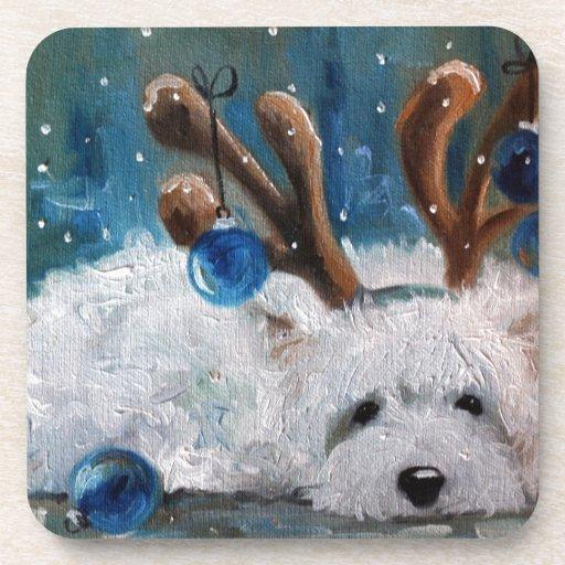 Perro azul de Westie del navidad de Terrier de la  Posavasos