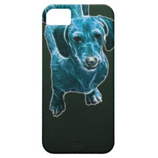 Perro azul del Dachshund de Fractalius iPhone 5 Funda