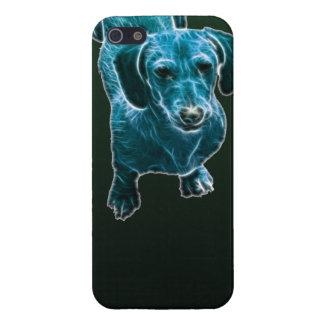 Perro azul del Dachshund de Fractalius iPhone 5 Carcasa