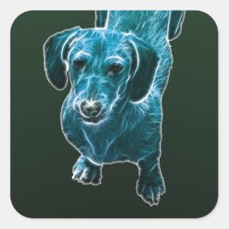 Perro azul del Dachshund de Fractalius Pegatina Cuadrada