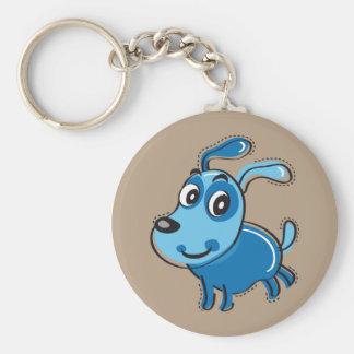 Perro azul feliz llavero redondo tipo pin