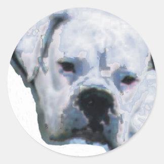 Perro azul pegatina redonda