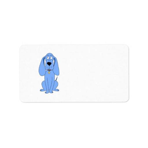 Perro azul. Perro Etiquetas De Dirección