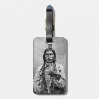 Perro bajo - foto del vintage del nativo americano etiquetas para equipaje