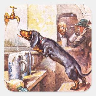 Perro bávaro pegatina cuadrada