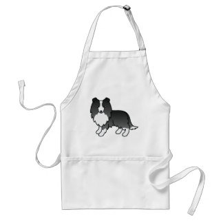 Perro BI-Negro de la caricatura del perro pastor Delantal