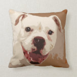perro blanco del boxeador almohada