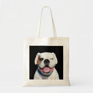 Perro blanco del boxeador bolsa tela barata