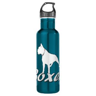 Perro blanco del boxeador botella de agua de acero inoxidable