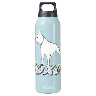 Perro blanco del boxeador botella isotérmica de agua