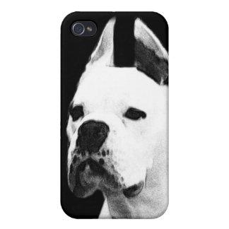 Perro blanco del boxeador iPhone 4/4S carcasas