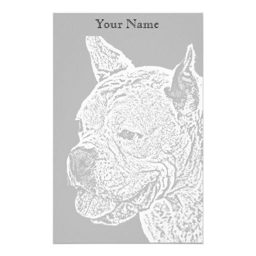 Perro blanco del boxeador inmóvil papelería
