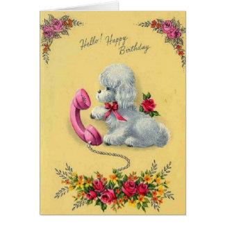 Perro blanco del vintage en tarjeta de cumpleaños