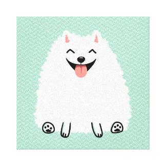 Perro blanco divertido del dibujo animado de impresión en lona estirada