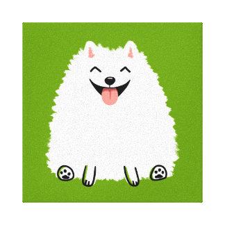Perro blanco divertido del dibujo animado de impresiones de lienzo