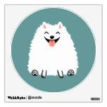 Perro blanco divertido del dibujo animado de vinilo
