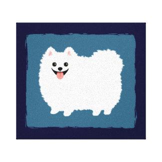 Perro blanco lindo del dibujo animado de impresiones de lienzo