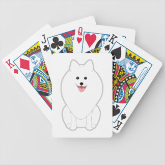 Perro blanco lindo. Perro de Pomerania o Pomerania Cartas De Juego