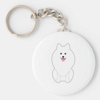Perro blanco lindo. Perro de Pomerania o Pomerania Llavero Redondo Tipo Pin