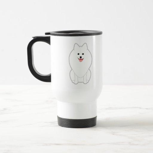 Perro blanco lindo. Perro de Pomerania o Pomerania Taza De Café