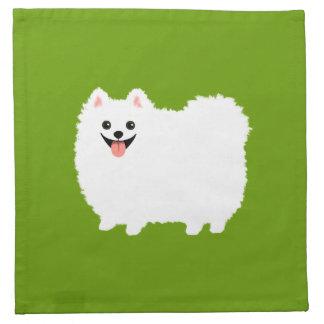 Perro blanco mullido del dibujo animado de servilleta imprimida