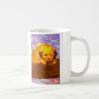 perro blanco que ruega taza