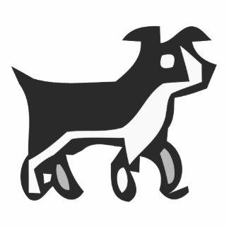 Perro blanco y negro fotoescultura vertical