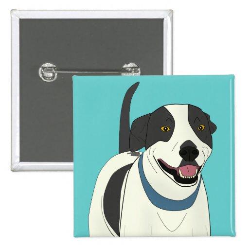 Perro blanco y negro sonriente - línea arte pins