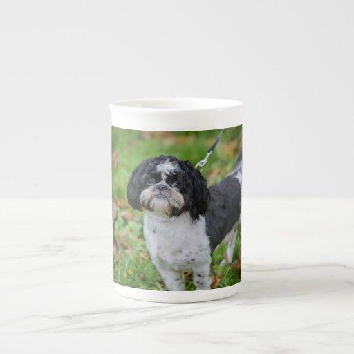 Perro blanco y negro tazas de china
