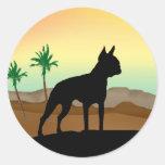 Perro Boston Terrier del desierto Pegatina Redonda