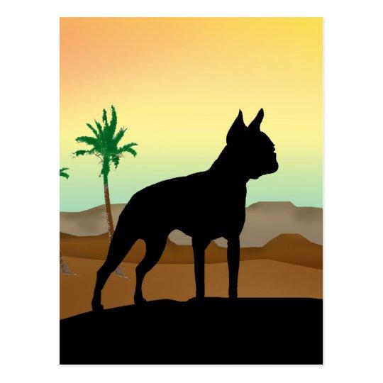 Perro Boston Terrier del desierto Tarjeta Postal