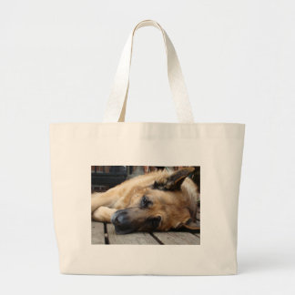 Perro cansado bolsa tela grande