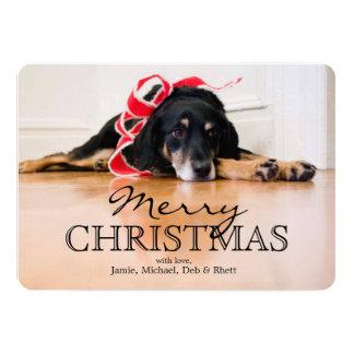 """Perro cansado con las cintas del navidad invitación 5"""" x 7"""""""