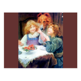 Perro casero del collie y dos muchachas postal