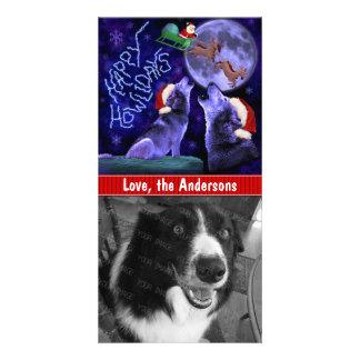 Perro casero feliz del retruécano del lobo de tarjetas fotográficas personalizadas