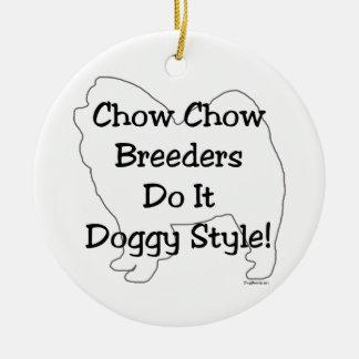 Perro chino de perro chino adorno navideño redondo de cerámica