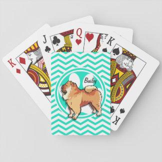 Perro chino de perro chino; Aguamarina Chevron Cartas De Póquer