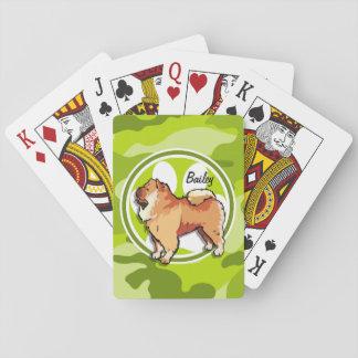 Perro chino de perro chino; camo verde claro, cartas de juego