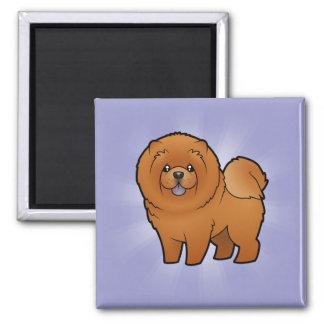 Perro chino de perro chino del dibujo animado imán cuadrado