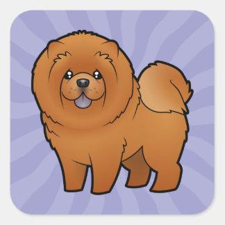 Perro chino de perro chino del dibujo animado pegatina cuadrada