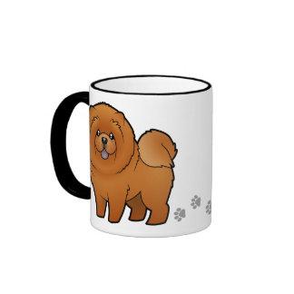 Perro chino de perro chino del dibujo animado taza