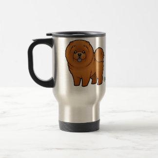 Perro chino de perro chino del dibujo animado taza térmica
