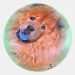 Perro chino de perro chino pegatinas redondas