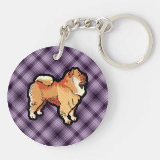 Perro chino de perro chino púrpura llaveros