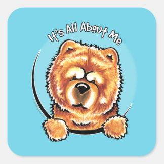 Perro chino de perro chino rojo IAAM Calcomania Cuadrada Personalizada