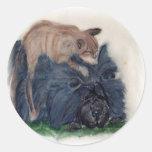 Perro chino y gato pegatinas redondas