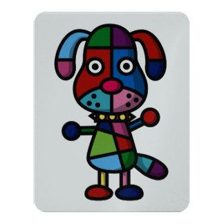 """perro colorido invitación 4.25"""" x 5.5"""""""