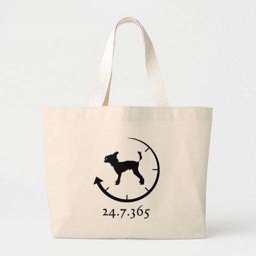 Perro con cresta chino bolsa tela grande